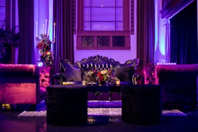 Seattle Mariners Marc Rzepczynski's wedding, Vibiana wedding, dark colors lounge furniture