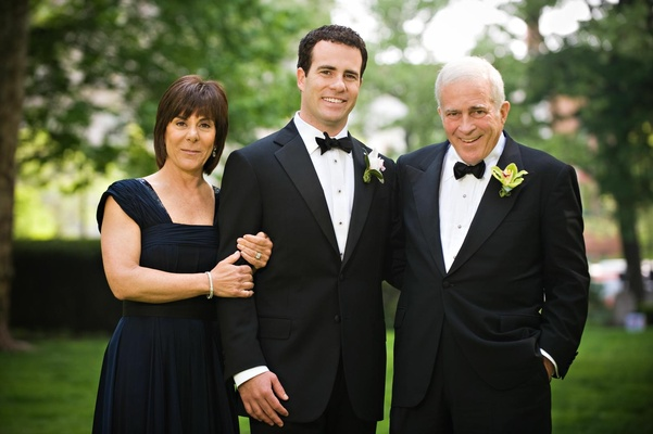 Groom in a tuxedo with parents