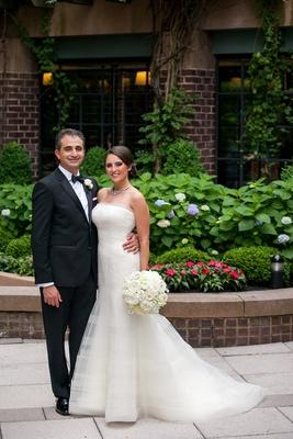 first look portrait bride groom four season washington dc tuxedo white dress classic wedding