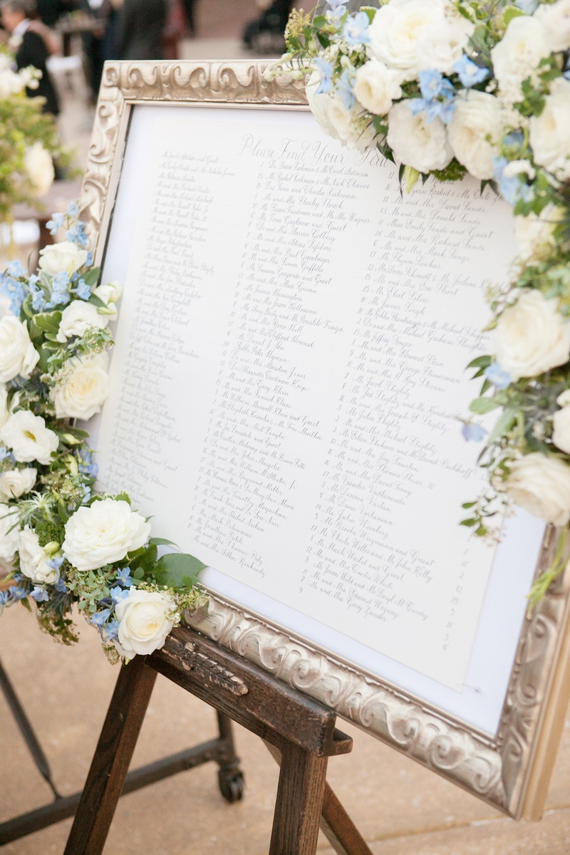 Delightful Table Assignments In Gold Frame Adorned With Flowers
