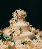 Circular cake with three tiers