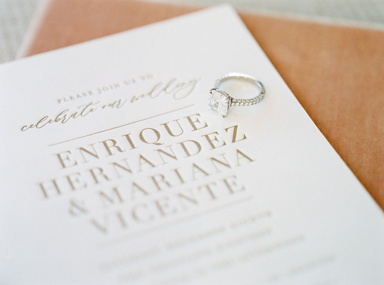 wedding invitation enrique kike hernandez mariana vicente diamond engagement ring on modern invite