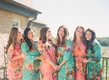 Bridesmaids in flower pattern aqua and pink robes