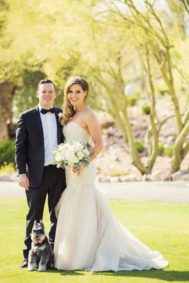 Maggie Lewis in strapless Liancarlo wedding dress with Drew Miranda in tux and bow tie Schnauzer