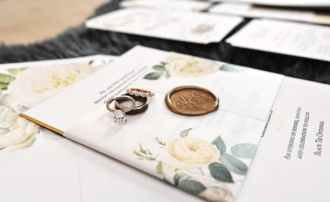 oval engagement ring two tone men's band wax seal flower print belly band envelope liner