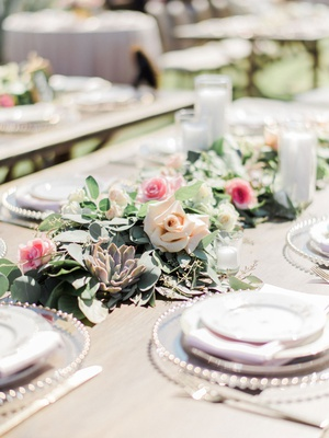 wedding reception succulent greenery candle votive blush pink rose flowers megan nicole youtube