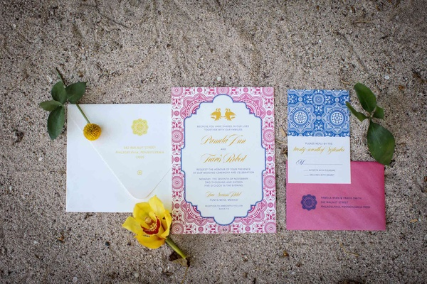 pink blue yellow white invitation suite punta mita mexico destination wedding styled shoot patterns