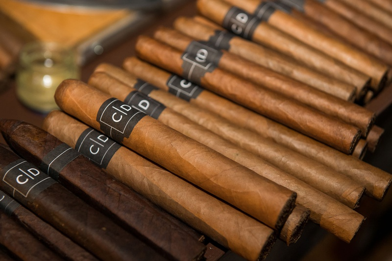 cigars at wedding, cigars labeled with monogram at wedding