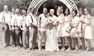 Jen Bulik and Jeff Lang with bridesmaids and groomsmen