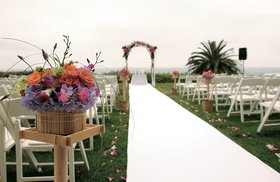 Oceanfront ceremony on hilltop