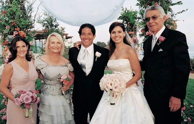 Bride and groom photo with family