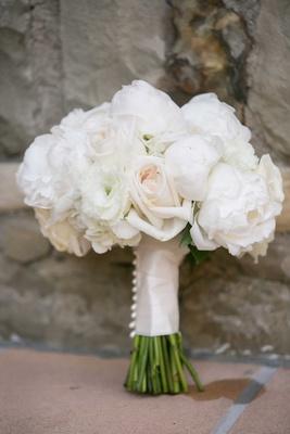 off-white white ivory bouquet roses bridal wedding satin around stems blush