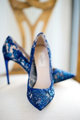 Bride's blue Valentino pumps with lace and crystals