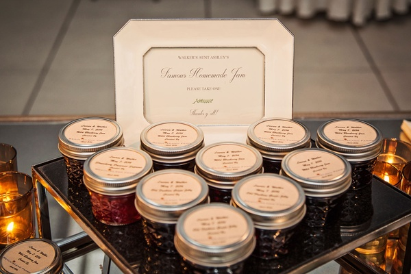 Homemade jam by groom's aunt for wedding favor unique