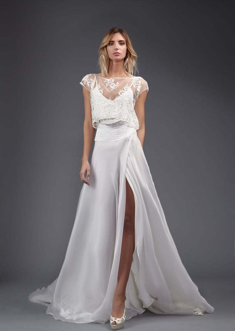 wedding dress skirt Victoria Kyriakides Spring Alice two piece wedding dress sheer crop top slit silk skirt ruching