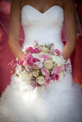 Bride Maggie Sottero white wedding dress bouquet pink tulip, peony, white rose, stephanotis