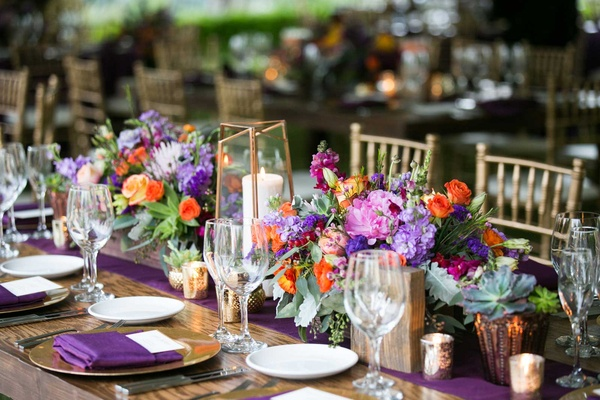 Charming desert wedding featuring bright berry tones in arizona berry tones pink purple green orange gold rustic tablescape concept reception junglespirit Gallery