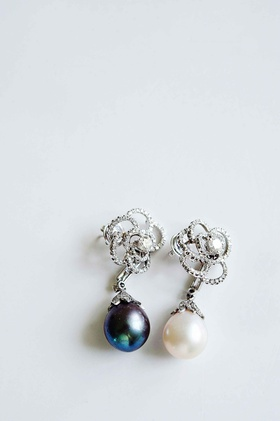 Roberto Coin pearl and diamond earrings for wedding jewelry
