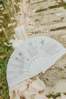 wedding ceremony program printed on folding fan for destination wedding