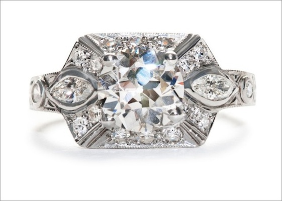 """1930s Art Deco """"Clemson"""" ring in platinum featuring a 1.52ct Old European-cut diamond with marquise-"""