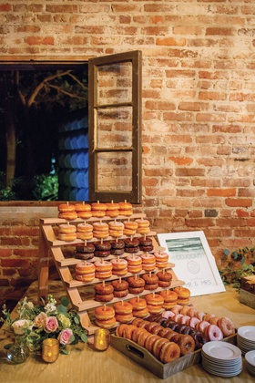 wedding reception brick building courtyard doughnut desserts