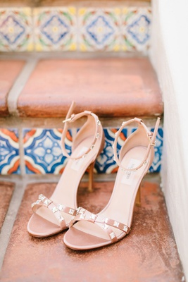 wedding shoes valentino stud high heels ankle straps criss cross straps blush