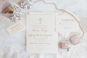 wedding invitation for christian wedding pink mrs box velvet gold white invitation