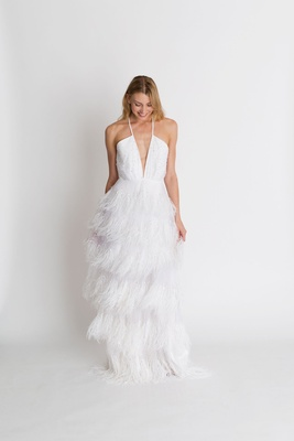 "Alexandra Grecco fall winter 2018 ""The Magic Hour"" wedding dress Coco fringe layer skirt plunge v"