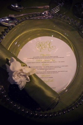 Green wedding reception plate and napkin
