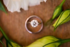 Round diamond solitaire engagement ring four prong aerial view of top of ring diamond