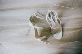wedding shoes light mint green white ivory silver heel embellishments open toe sandal ankle straps