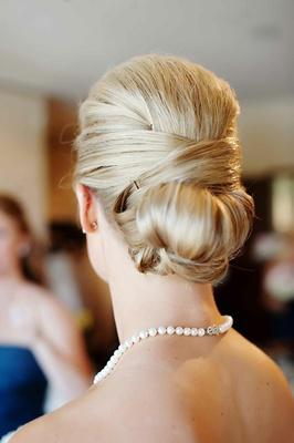 Blonde hair wedding style elegant updo