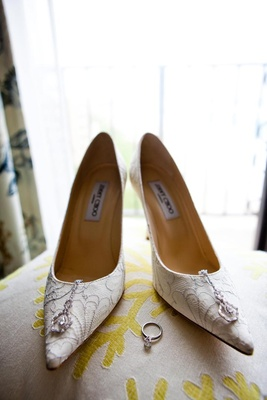 Pointy toe white lace Jimmy Choo bridal heels