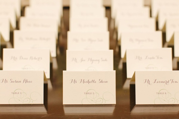 ivory place cards with subtle traced design