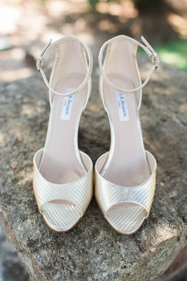 metallic ankle strap heels wedding LK Bennett rustic shiny