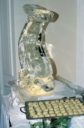 Dolphin or fish design carved out of ice
