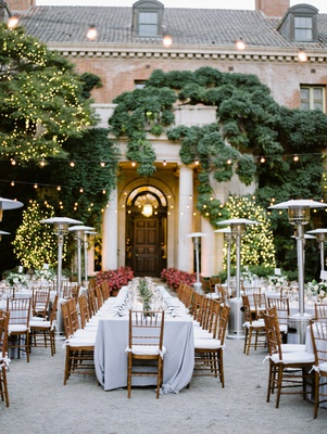 wedding at filoli, outdoor reception, twinkle lights, natural chiavari chairs