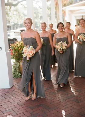 wedding venue brick bridesmaids in dark grey dresses slit pink yellow orange bouquets succulents