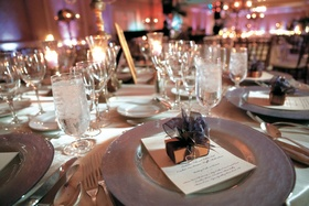 Purple ballroom reception table decorations
