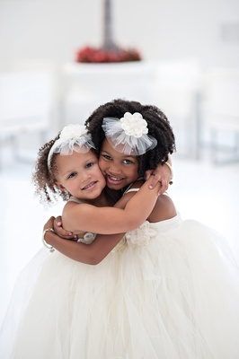 African American children in ivory dresses