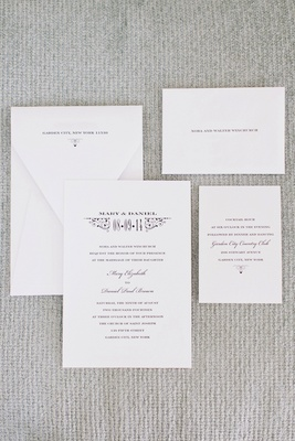 Wedding invitation suite on white paper with black print