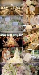Pale florals and gold accents give this reception tent an atmosphere of pure elegance.