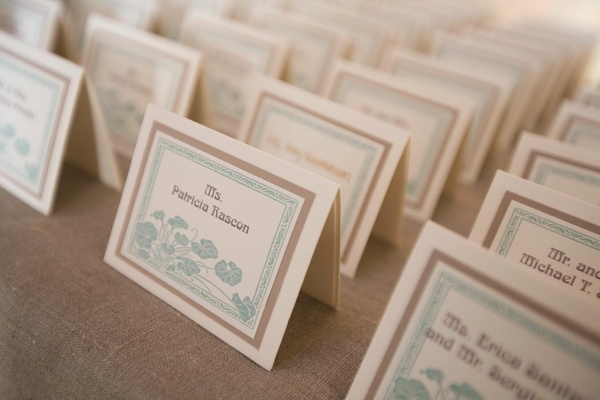 Aqua art design stationery for wedding seating cards