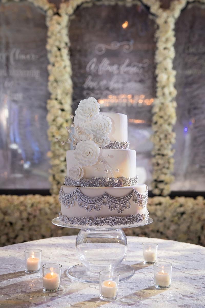 Wedding cake three layer white sugar flower silver embellishments beads pearls