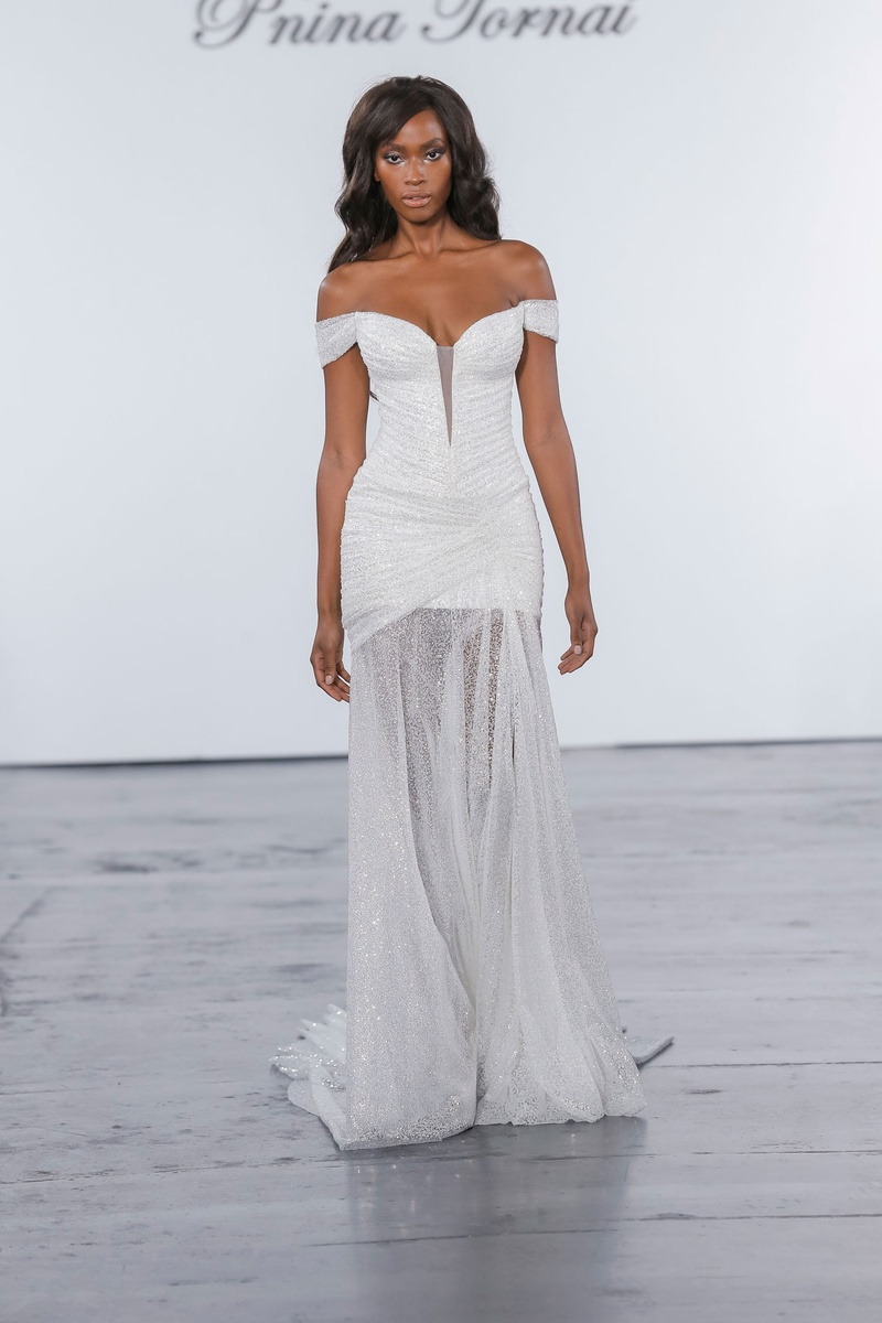 Pnina Tornai for Kleinfeld 2018 wedding dress glitter off shoulder drape gown with sheer skirt