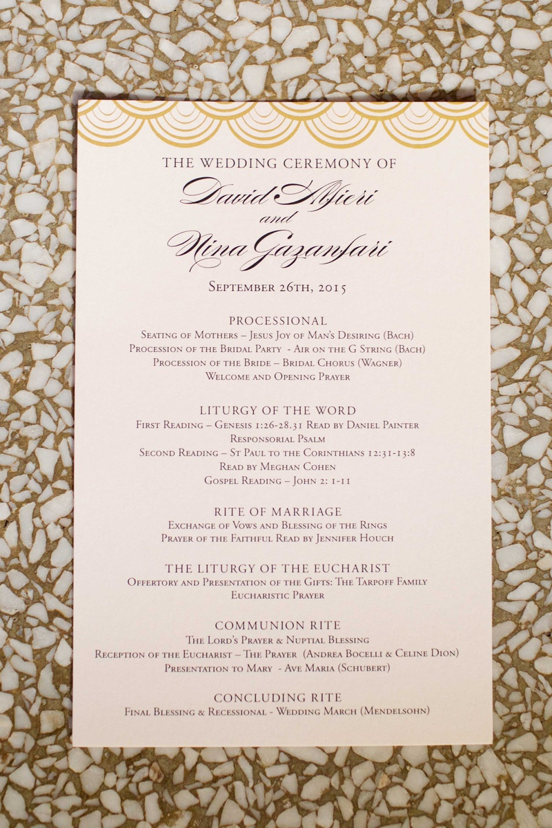 Wedding ceremony program with gold scallop details at top processional liturgy rite of marriage