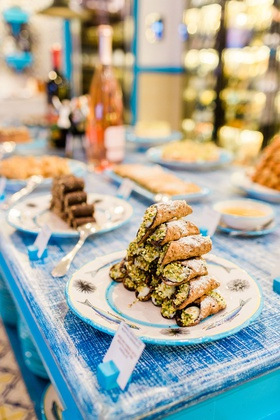 pyramid of cannoli at dessert table at destination wedding in Capri