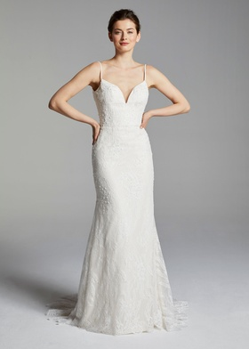 Blue Willow Bride Spring 2019 collection v neck beaded lace trumpet gown with spaghetti straps