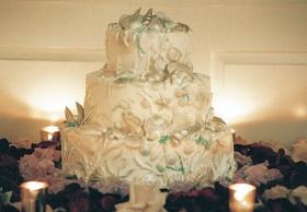 White three layer cake with ocean decor