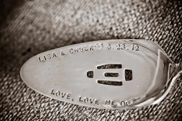 Serving spoon with stamped couple names and wedding date